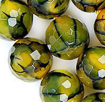 """8mm Faceted Natural Yellow & Green Agate Gemstone Round Spacer Loose Beads 15"""""""