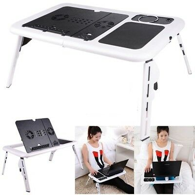 Laptop Lap Desk E-Table Bed Foldable Table With USB Cooling Fans Stand TV Tray