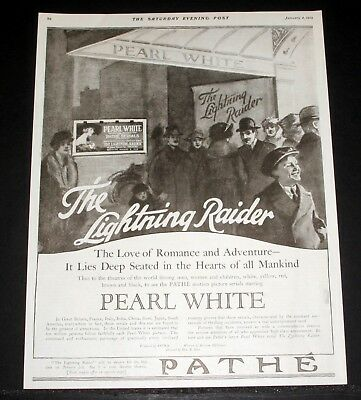 """1919 Old Magazine Print Ad, Pathe Serials, Pearl White In """"the Lighting Raider""""!"""