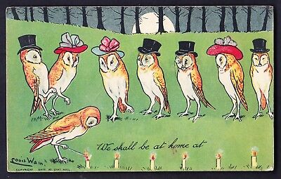 OLD OWL POSTCARD by LOUIS WAIN 1907 - good condition