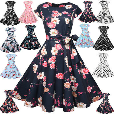 Women's 50s 60s Rockabilly Vintage Style Evening Party Housewife Swing Dress AU