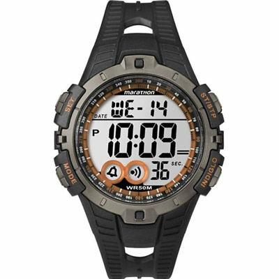 Timex Mens Marathon Full-Size Digital Sports Watch - Black/Orange New UK T5K801