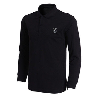 Grateful Dead Steal Your Face Embroidered Long Sleeve Polo Shirts Men Shirts