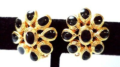 "Stunning Vintage Estate Black Gold Tone Flower Leaf 3/4"" Clip Earrings!!!! 8927R"