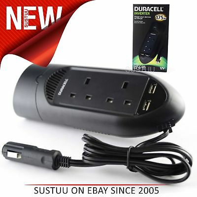 Duracell Powerstrip Inverter│Charger+Twin USB Ports/ Sockets│Battery Backup│175W