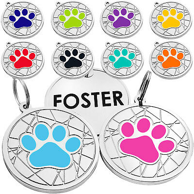 Dog Tag Personalised ID Tags Custom Engraved Pet Puppy Cat Name Enamel Charm