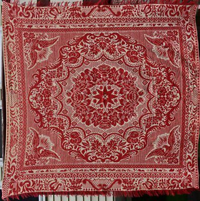 Antique Woven  Jacquard Coverlet in Red and Beige, #18054