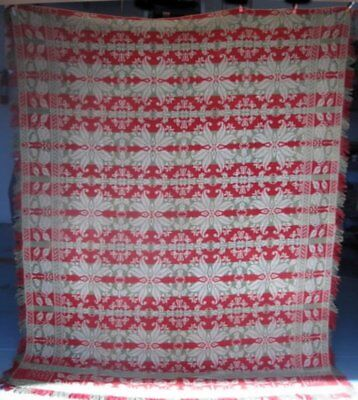 Antique Jacquard Coverlet, Signed & Dated, #18007