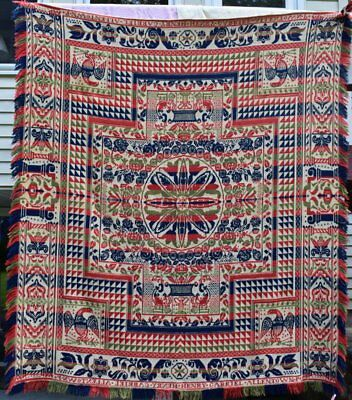 Antique Jacquard Coverlet With Eagles,Signed Henry Gabriel, Allentown #18087