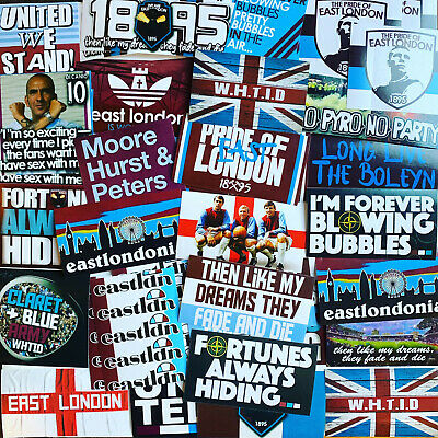 100 x  West Ham Stickers inspired by Boleyn Upton Park Shirt Scarf Badge Flag