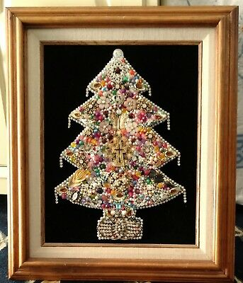 Large Framed Costume Jewelry Christmas Tree Vintage W Lights One Of