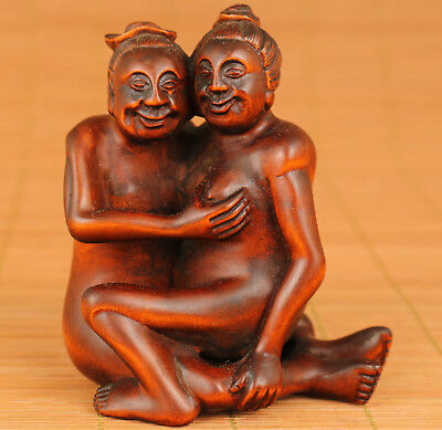 Rare Ancient Chinese Old Boxwood Hand Carved Statue love Ming Dynasty Art