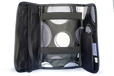 Thirty One - Fold And Go Organizer & Notepad Compartment BLACK HAPPY DOT 068G