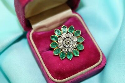 VTG Estate Antique Art Deco 14K Gold, Diamond & Emerald Size 6.5 Ring!