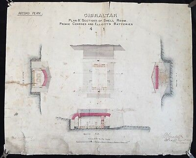 Gibraltar 1866 Prince George's Battery Original Hand Drawn & Coloured Plan