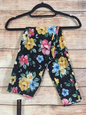 Tall and Curvy Super Soft Leggings Black Yellow Blue Pink Flower Plus Sam P285N