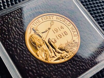 Royal Mint 24k Gold Plated 999 Silver 2014 WW1 Outbreak First World War £20 Coin
