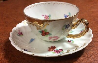 Demi Tea Cup and Saucer Flowers & Bugs w/ Gold Accents Made In Germany