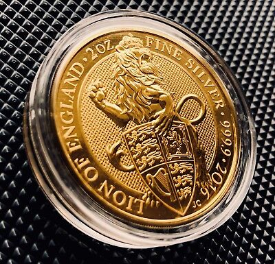 Royal Mint 2oz 24k Gold Plated .999 Silver Queen's Beast Lion Of England £5 Coin
