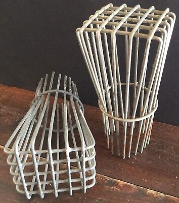 Old Vtg Antique Heavy Duty Wire Gutter Down Spout Guard Screen Industrial Pair