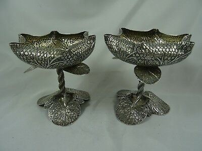STUNNING pair of INDIAN ( Kashmiri ) solid silver SWEET DISHES, c1910, 303gm