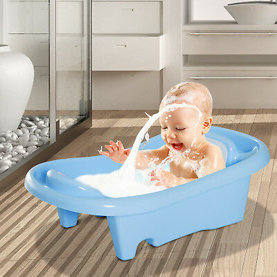 HOMCOM Baby Bath Tub Safe Seat Infant Washing Backrest Bears 36 Months PP Blue
