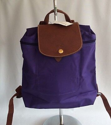 d6f67a78d861 NWT Longchamp Womens Le Pliage Nylon Backpack Leather Trim Packable Amethyst