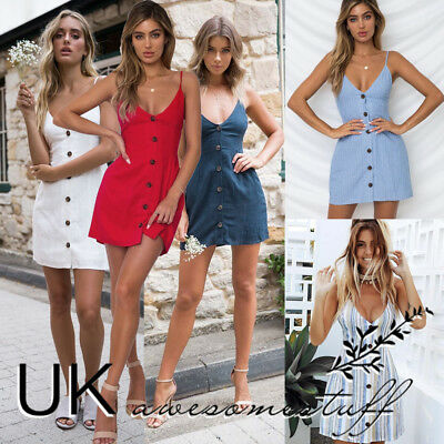 UK Womens Plunge Bardot Button Mini Dress Ladies Summer Slip Sun Dress Size 6-16