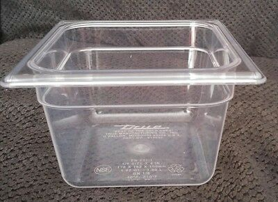 "True restaurant Clear Cold Food Container storage without Lid, 1/6 Size 4"" NSF"