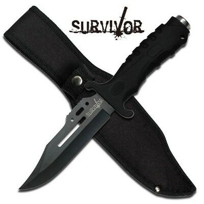 "10.5"" TACTICAL COMBAT BOWIE HUNTING KNIFE Survivor Military Fixed Blade +Sheath"