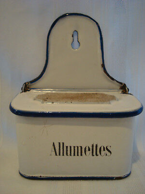 "Vintage Granite-Enamel-Ware ""Allumettes"" (Match) Box, France, Signed"