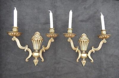 French pair of wall sconces candles brass