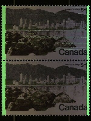 Weeda Canada 599a VF MNH vertical pair, freak tagging streaks on top, high value