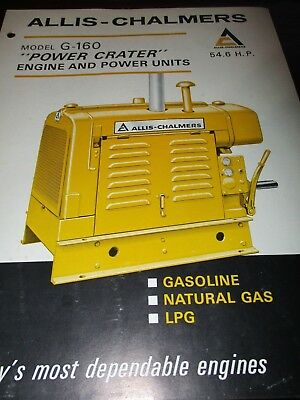 Allis-Chalmers Model G-160 Engine Sales/Specifications Brochure 1965