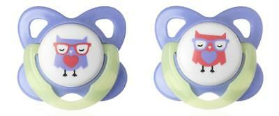 Tommee Tippee Glow in the Dark Soothers Dummies 6-12 Months Owl (Pack of 2)