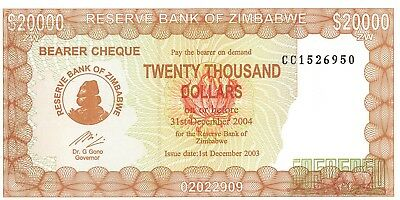 2003 Zimbabwe 20 000 Dollar Bearer Cheque Bank Note-UNC Condition-18-378