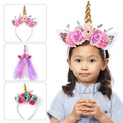 Unicorn Headband Party Horn Head Band Kids Hair Fancy Dress Cosplay Cake Flowers