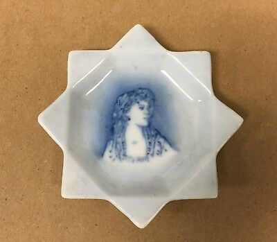 Nice Flow Blue Female Star Pin Tray Antique Porcelain Small Dish