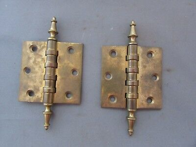 "VTG Pair of Antique Brass Hinges 3"" x 3"" Steeple Finial"