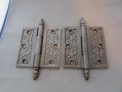 VTG Antique Pair of Cast Iron Hinges Acorn Finial Ornate Victorian Eastlake 4x4