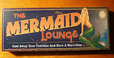 MERMAID LOUNGE Beach Sign Block Shelf Home Bar Decor Cast Away Your Troubles