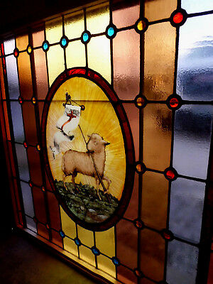 Lg Antique Vtg Church Stained Glass Window Architectural Salvage Lamb of God W50