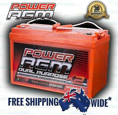 135Ah Amp Hour Battery Agm Sla 12 Volt 12V Deep Cycle Dual Purpose Under Bonnet