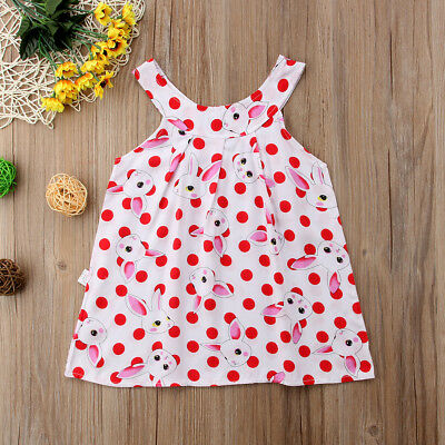 AU Rabbit Dress Summer Sleeveless Kids Girls Casual Party Dresses Vest Skirts