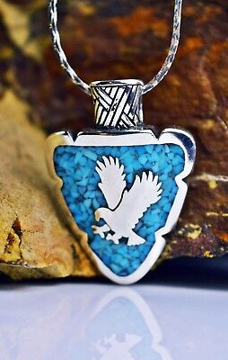 Sterling silver Arrowhead pendant w/ bald Eagle in flight with Turquoise inlay