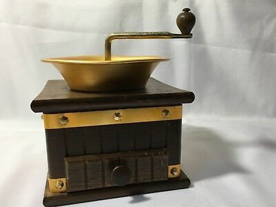 Vintage Wood Aluminum Brass Coffee Mill Grinder Adjustable  Hand Crank Open Top