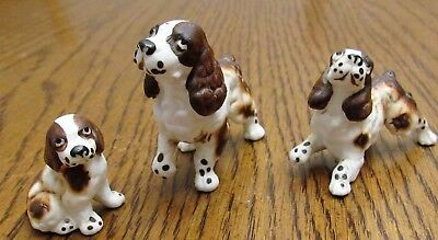 Vintage Miniature Set of 3 English Springer Spaniel Dogs-Mother & 2 Youngsters