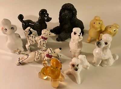 10 Poodle Figurines Ceramic Glass Resin