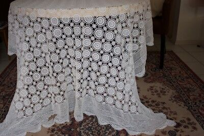 VINTAGE TABLECLOTH White Crocheted 210x170cm #172