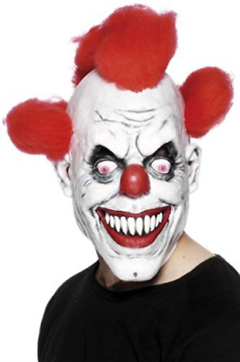 Clown 3/4 Mask, Red & White, with Hair  AC NEW